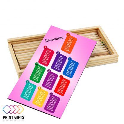 Дървен моливник с име и моливи